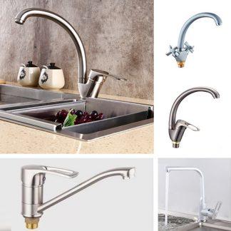 Смесители для кухни в цвете серебро/никель/сатин