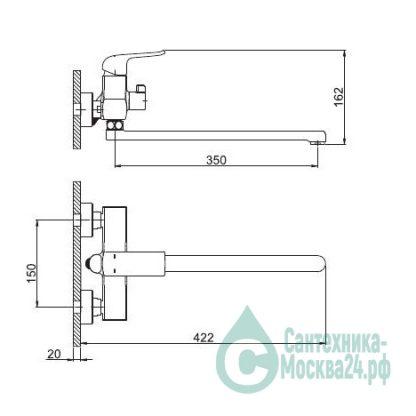 Смеситель GAPPO AVENTADOR G2250 для ванны черный (1)
