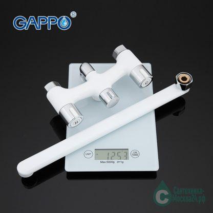 Смеситель GAPPO G2249 для ванны белый двухрычажный (3)