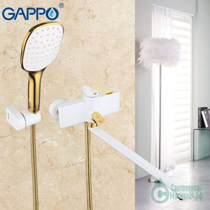 Смеситель GAPPO G2280 для ванны белый с золотым (6)