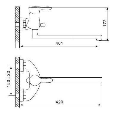 Смеситель GAPPO ORICH G2202 для ванны размеры