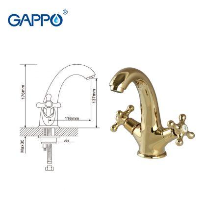 Смеситель GAPPO SOFIA G1063-6 для раковины золото (3)