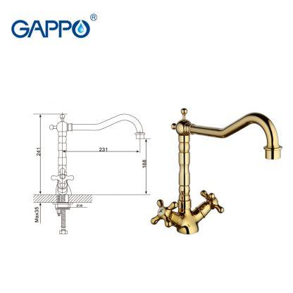 Смеситель GAPPO SOFIA G4063-6 для кухни размеры
