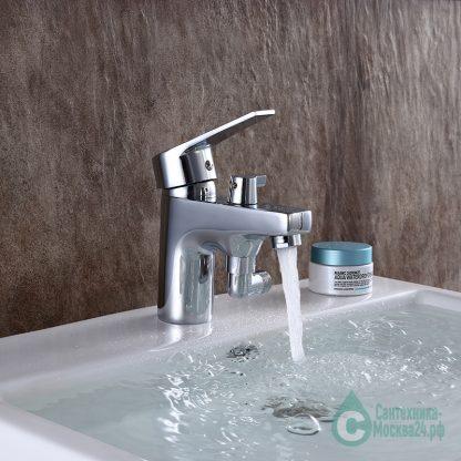 Смеситель MYNAH M1218 универсальный однорычажный с гигиеническим душем хром на борт ванны для раковины (11)