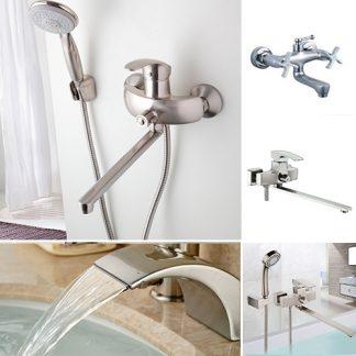 Смесители для ванны в цвете серебро/никель/сатин