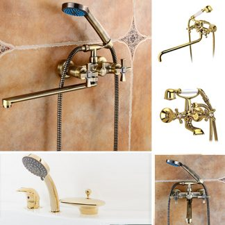 Смесители для ванны в цвете золото/бронза